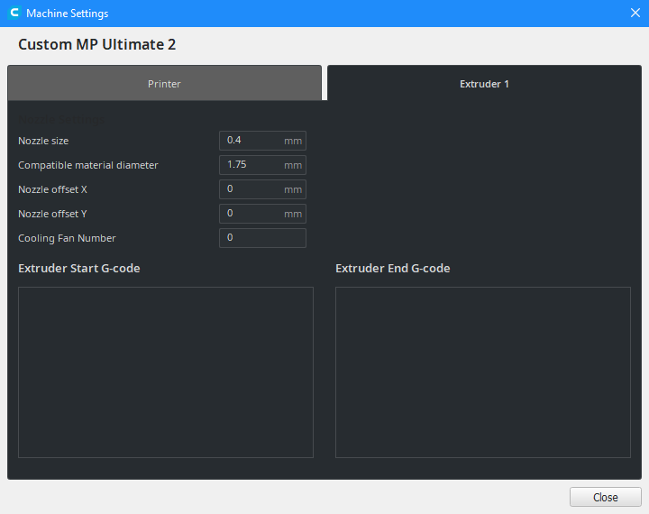 Cura extruder settings for Monoprice Maker Ultimate 2
